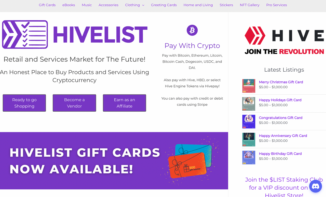 Hivelist Store Gift Cards Now Available!