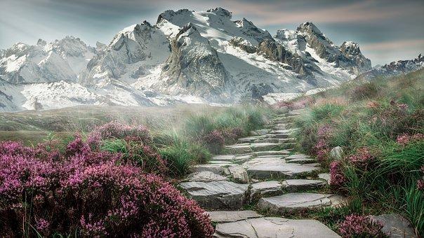 Mountain Landscape, Steps, Stones