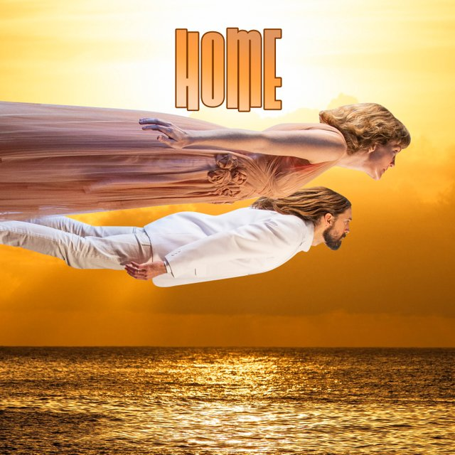 The early artwork for our single is a human flight over a golden ocean.