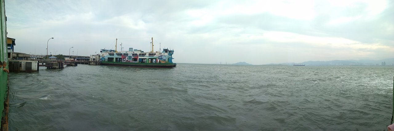Panoramic view from the side of the ferry before departure.