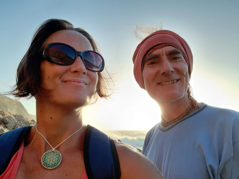 Cate and I on Plett beach where the greatest whale sightings can be found