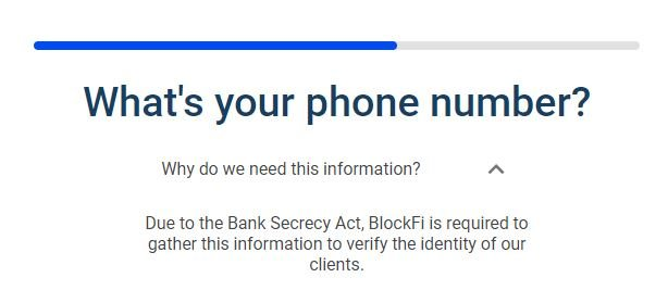 screenshot from the registration process in BlockFi