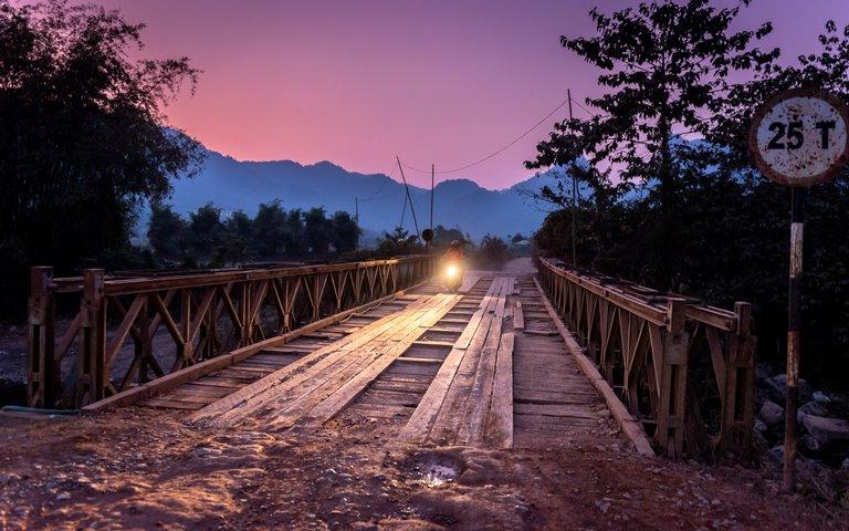 Pink Sky over Bridge near Vang Vieng