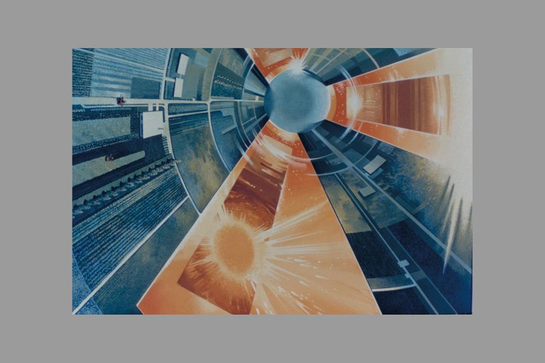 Interior View of Colony from Overhead.  Space Colonization  Artwork.  Farming sections wil be built in terraces with different crops grown on each of the levels. ARC1975AC751922.jpg