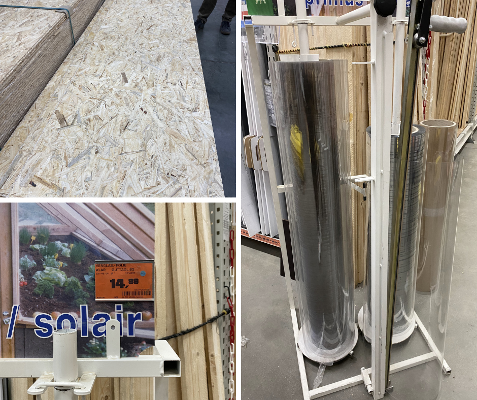 constractin market with wood and plexi glass