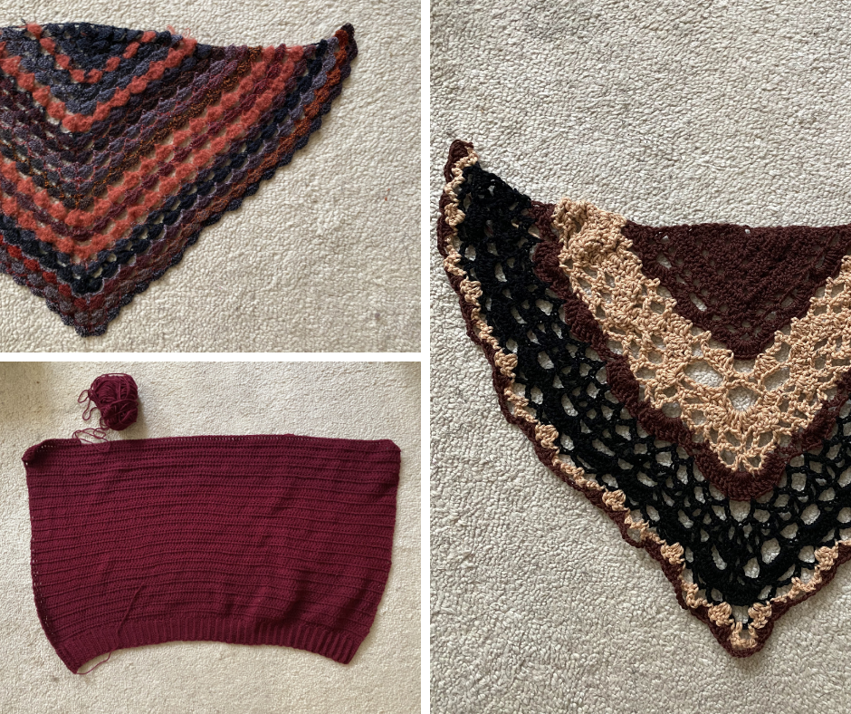 three different crochet projects, two lace shawls and the back of the urbanite cardigan