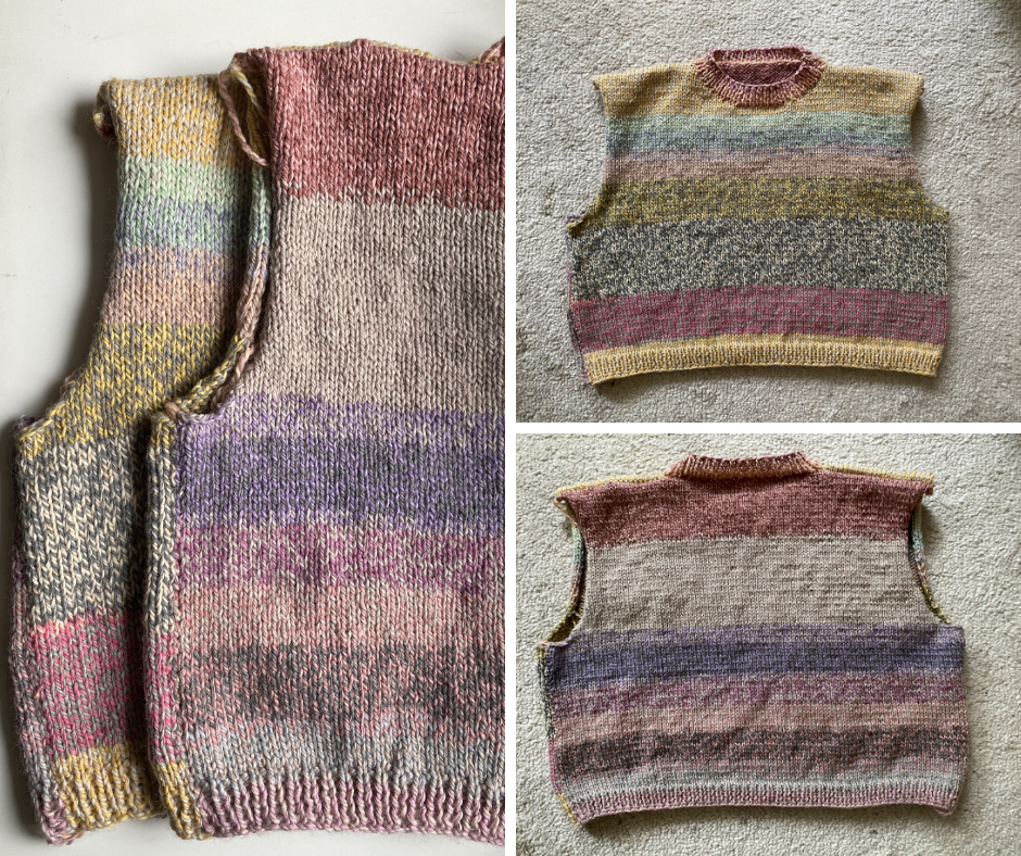 back and front of a striped slipover in soft pastel colors