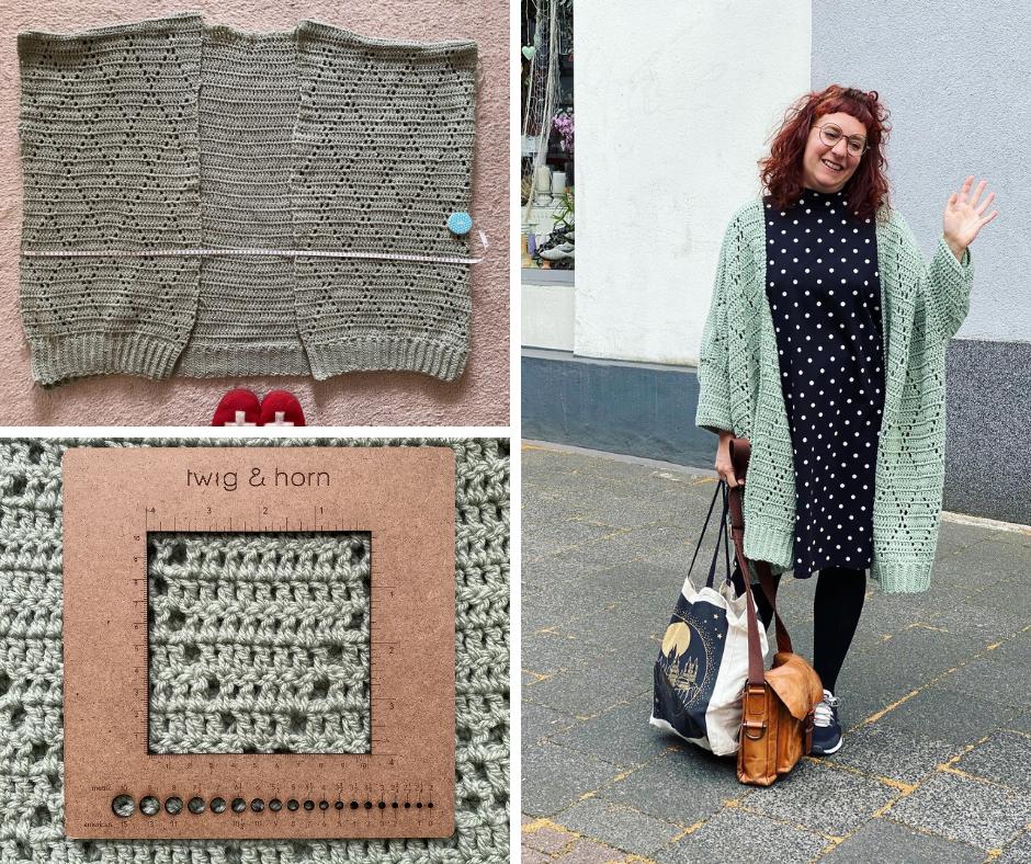 Simone wearing the oversized urbanite crochet cardigan