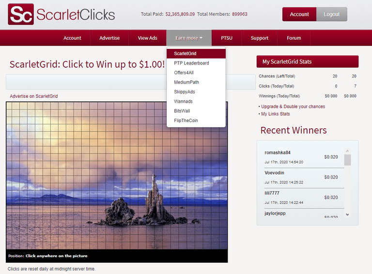win up to 1 dollar with scarlet grid