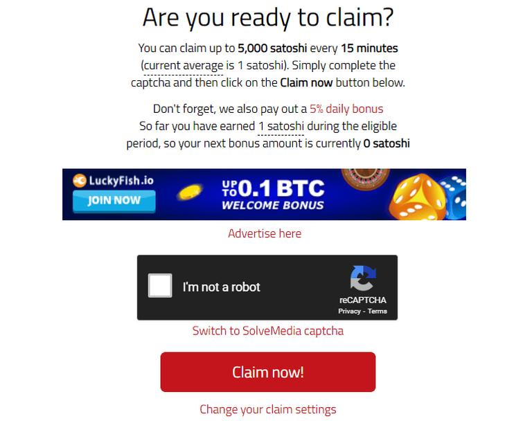 BonusBitcoin get satoshi every 15 minutes