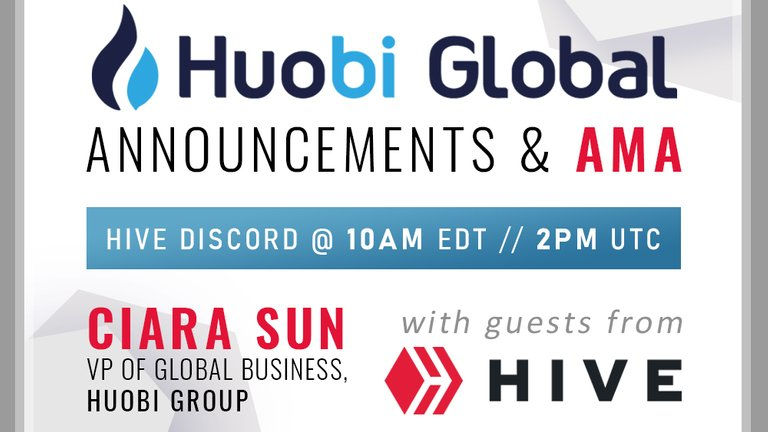 Live chat and announcements from Huobi Global's Ciara Sun with Hive community!