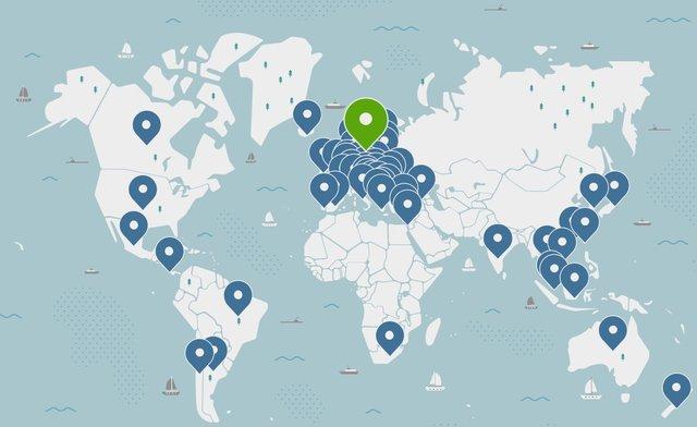NordVPN servers map