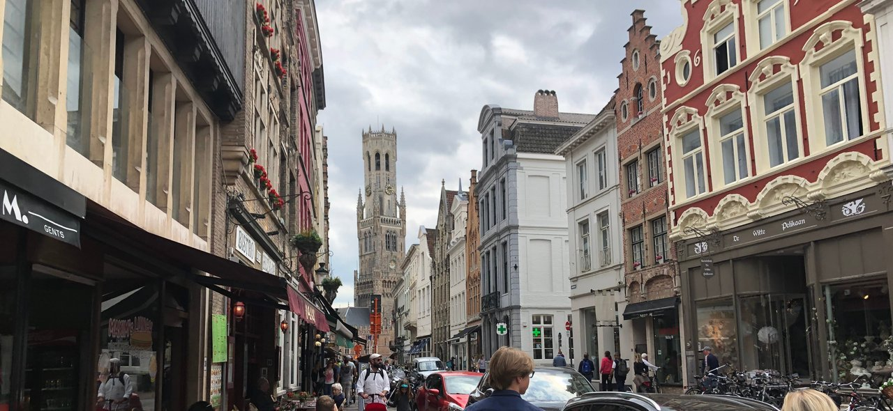 Approaching city center with Belfry of Bruges