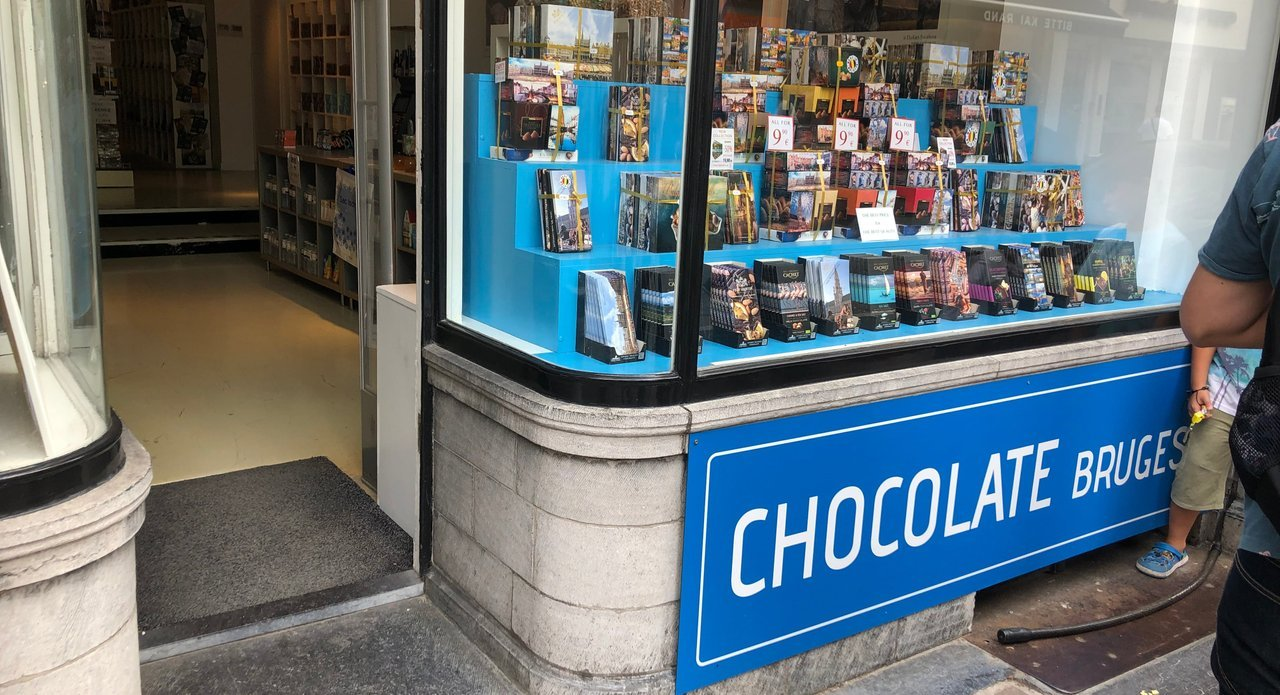 One of the many chocolate shops in Bruges