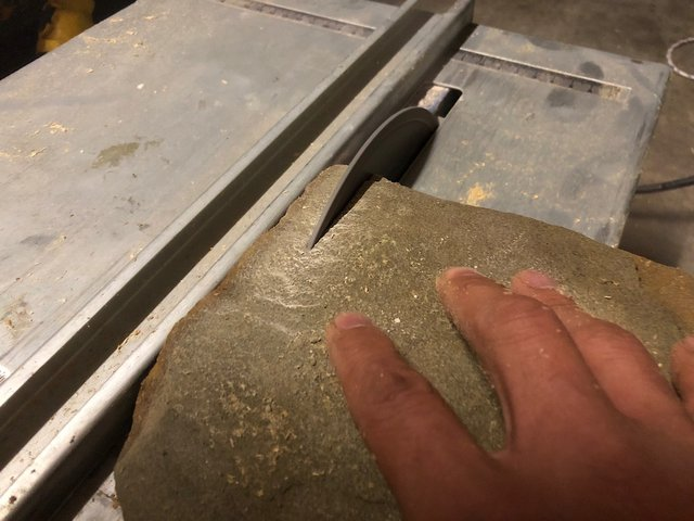 Cutting sandstone with a tile saw