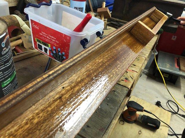 Oiled wooden coat hanger