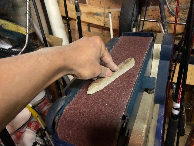 Sanding a sandstone