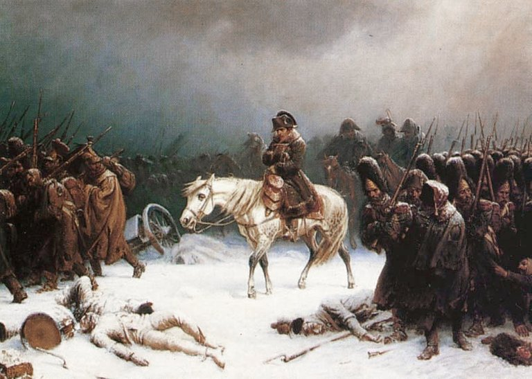 During Napoleon Bonaparte's retreat from Russia in the winter of 1812, many troops died from hypothermia