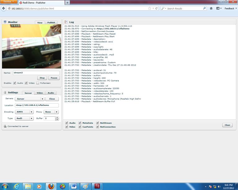 Gambar 3.13 Tampilan streaming di Red5-server.png