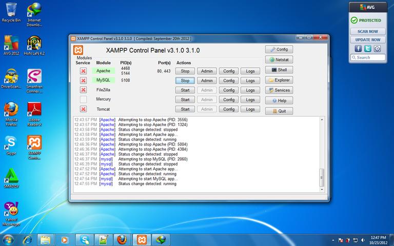 Figure 1. XAMPP control Panel version 3.1.0.png