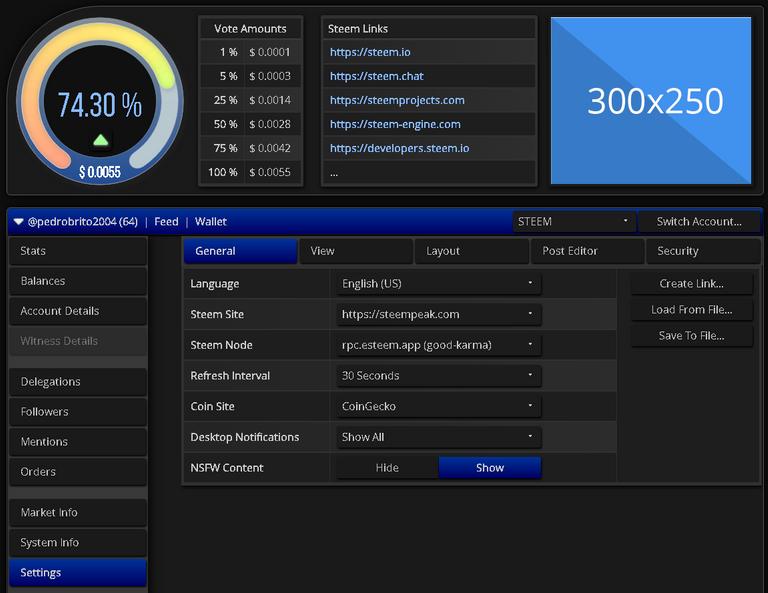 ScreenShot of steemworld