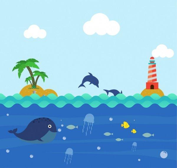 ocean_background_colorful_cartoon_design_playful_dolphin_icons_6828711.jpg