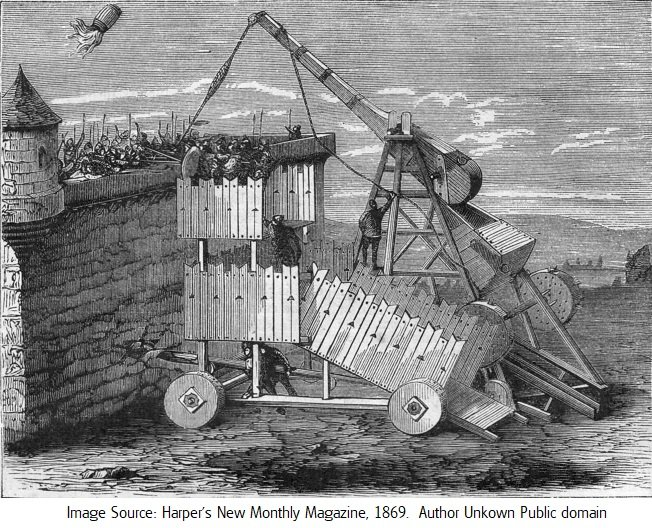 Greek fire catapult or trebuchet public Harper's New Monthly Magazine, No. 2229, June, 1869..jpg