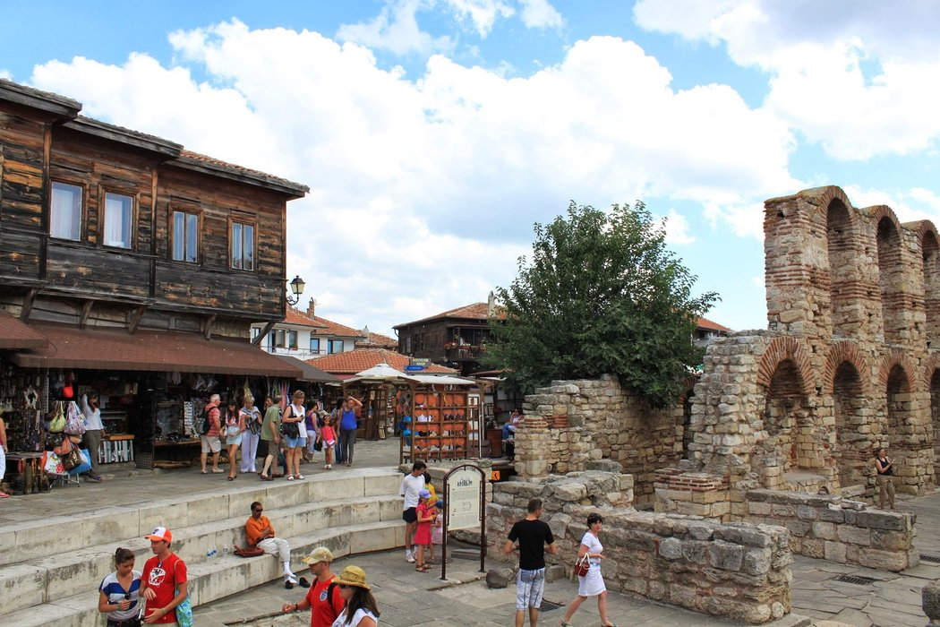 There are many visitors near St. Sophia's Ruins in Nessebar