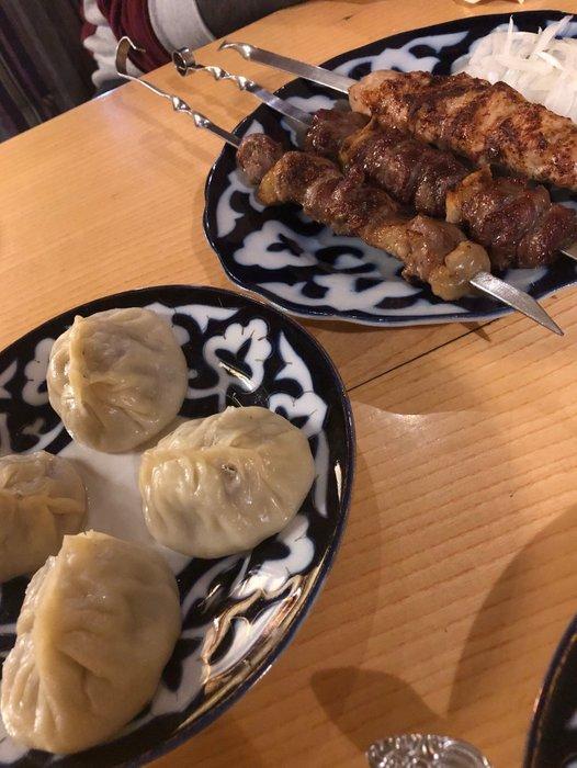 Uzbek Steamed Dumplings and Shish Kebab