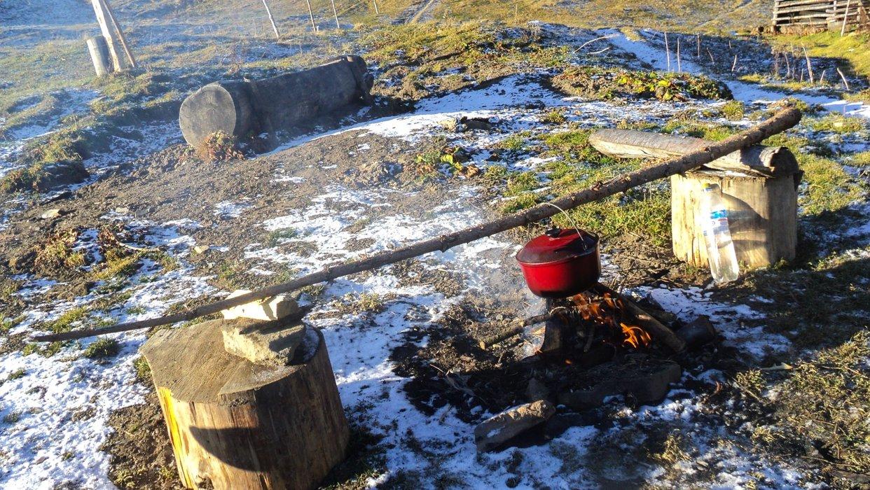 We make coffee in a cauldron