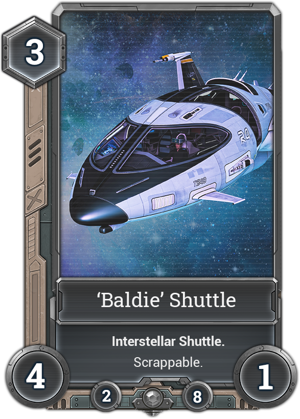 Card example of one of our spaceships. Our card template will be improved further in May.
