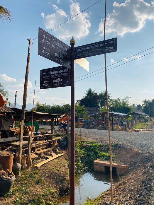 Even though the sign is in English, we couldn't find anyone in this village who was able to speak English. Luckily dictionaries are a thing!