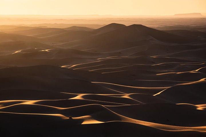 The endless dunes of the Erg Chigaga during sunset