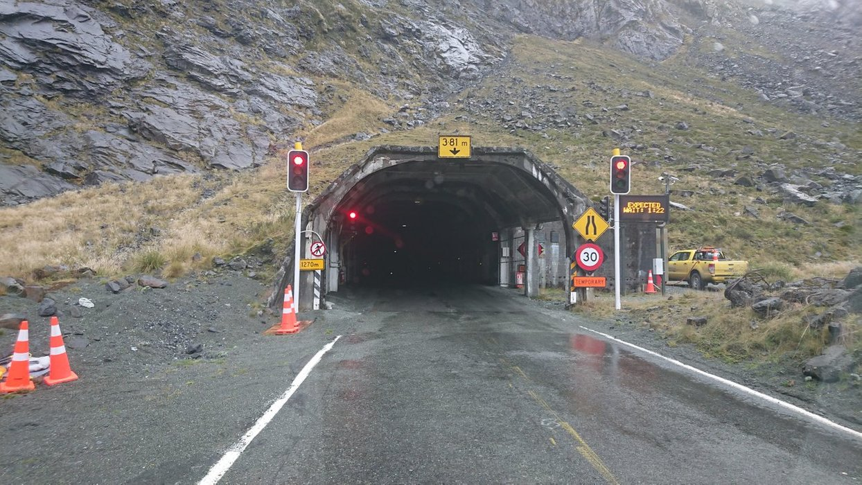 The grand entrance to Homer Tunnel... a bit dark in there isn't it?