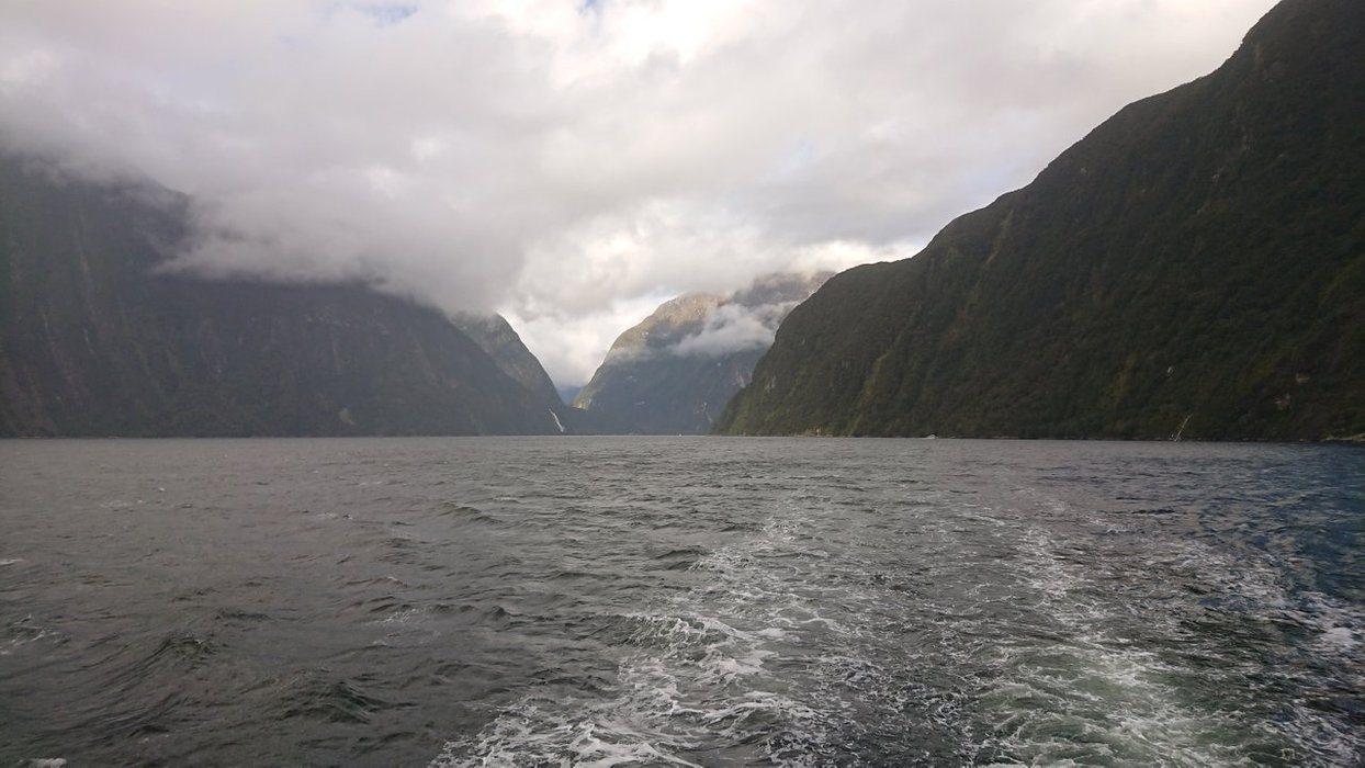 Heading out to the mouth of the fjord, there's many waterfalls to admire...