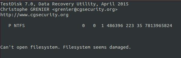 testdisk filesystem is damaged upon listing files