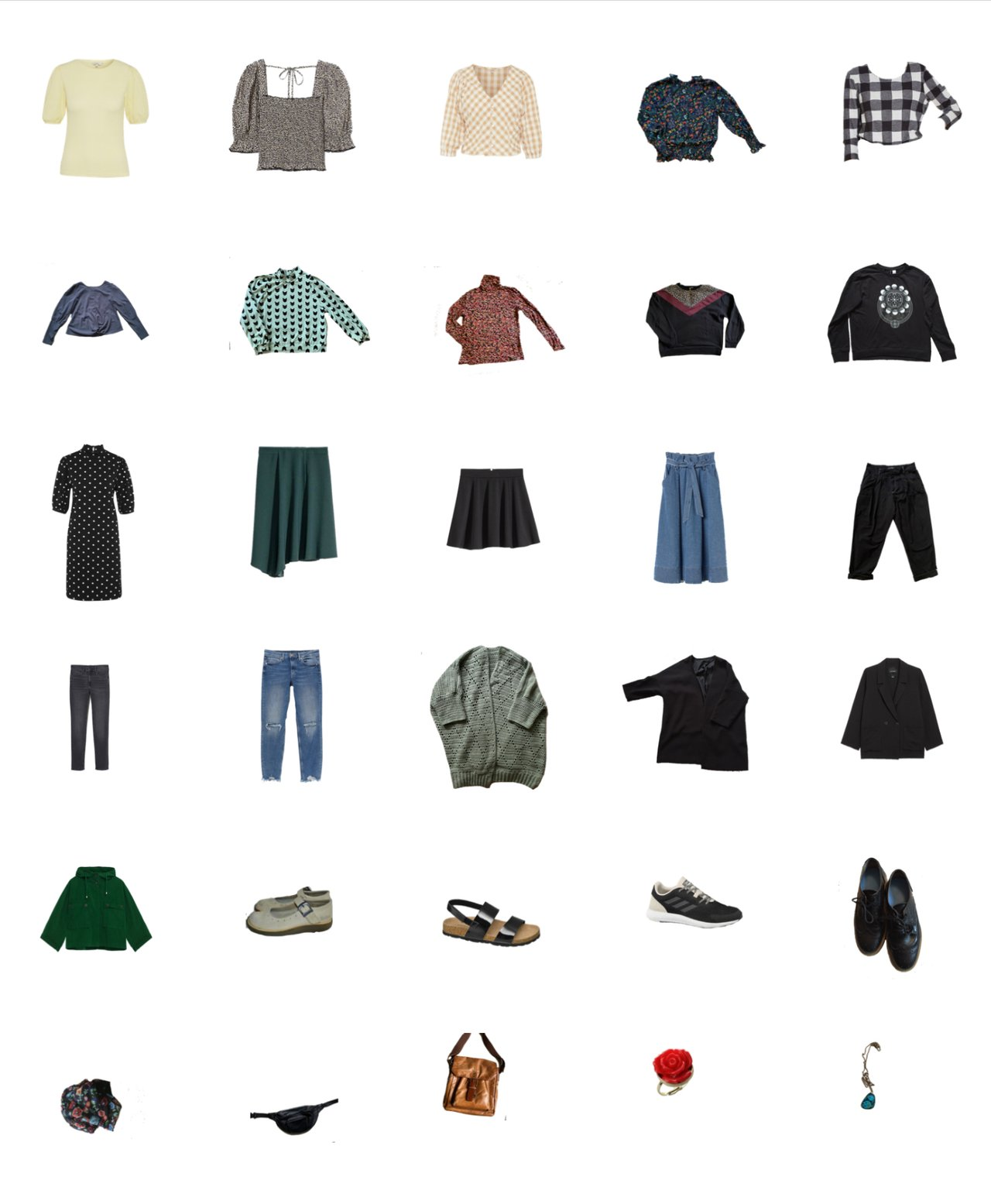 mint and black garment selection of a capsule closet
