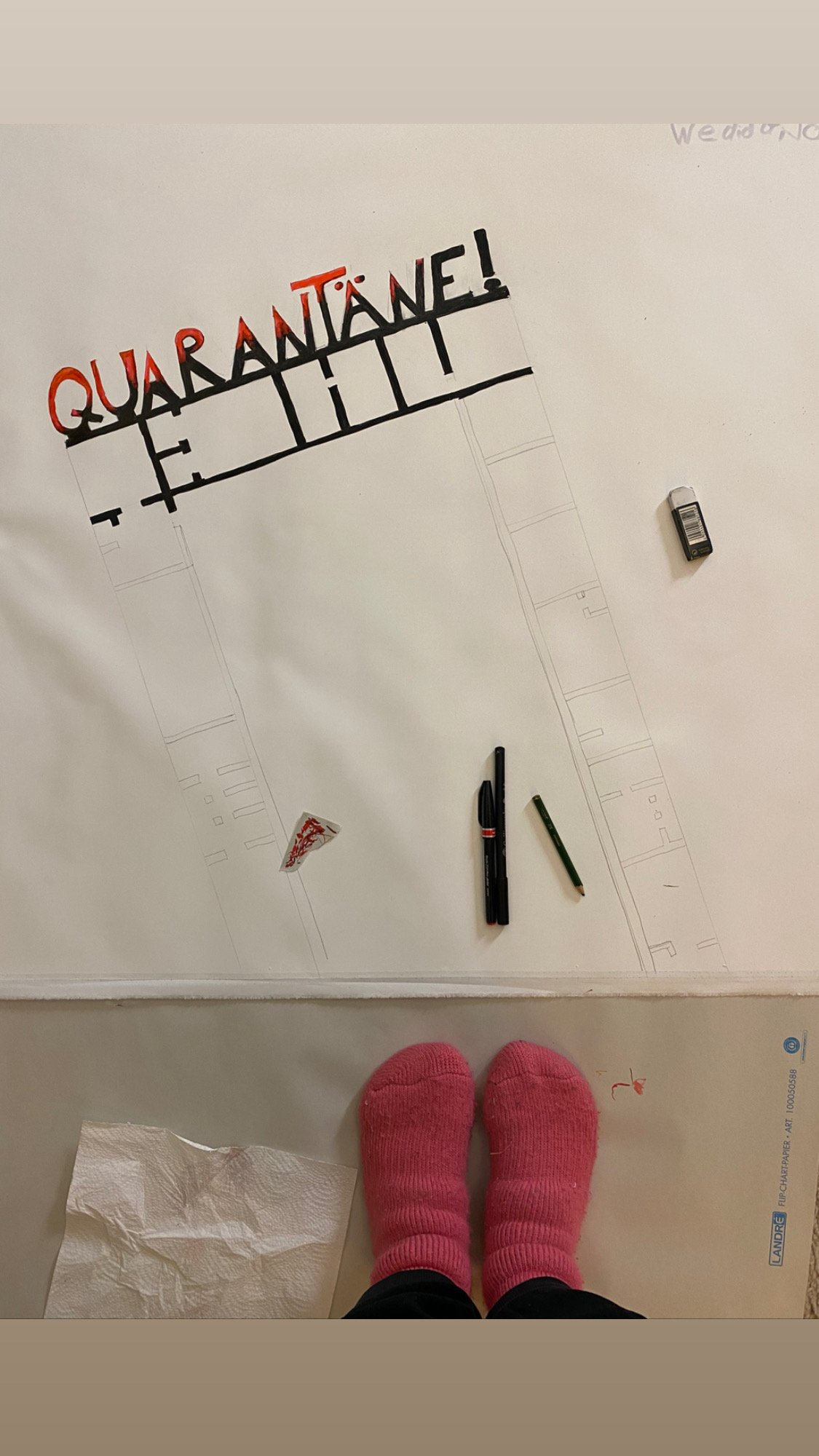 unfinished drawing from Simone about quarantine
