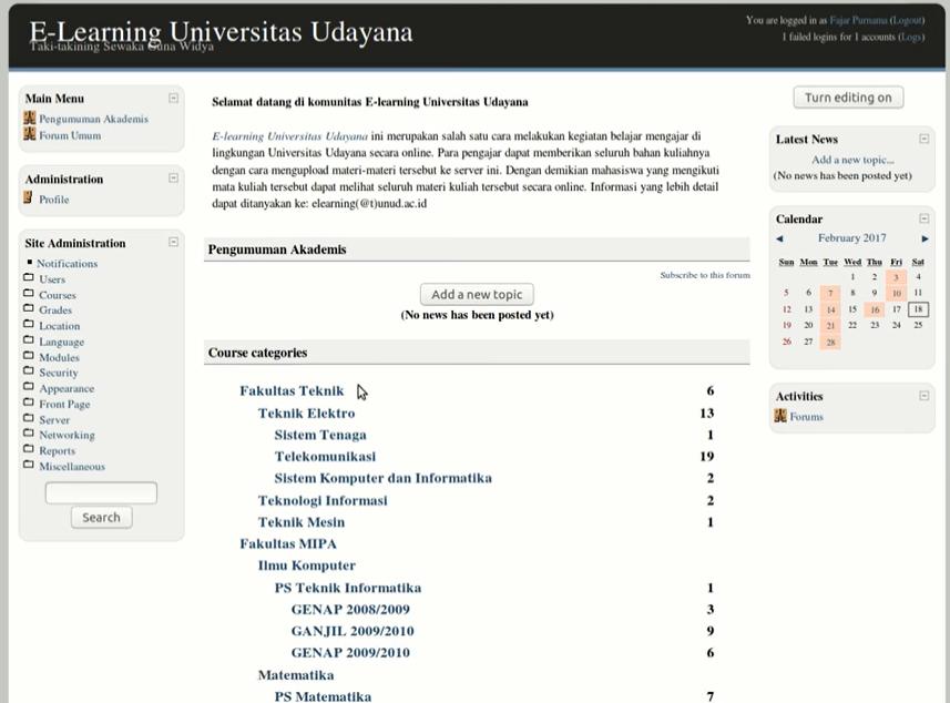 Udayana University Moodle 1.9