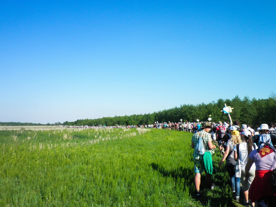 The first day of the pilgrimage was mainly on a dirt road