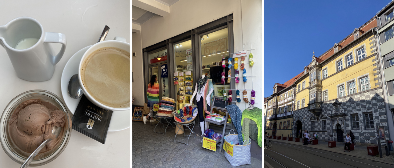 photos of icecream, a yarn shop and a beautiful historical facade