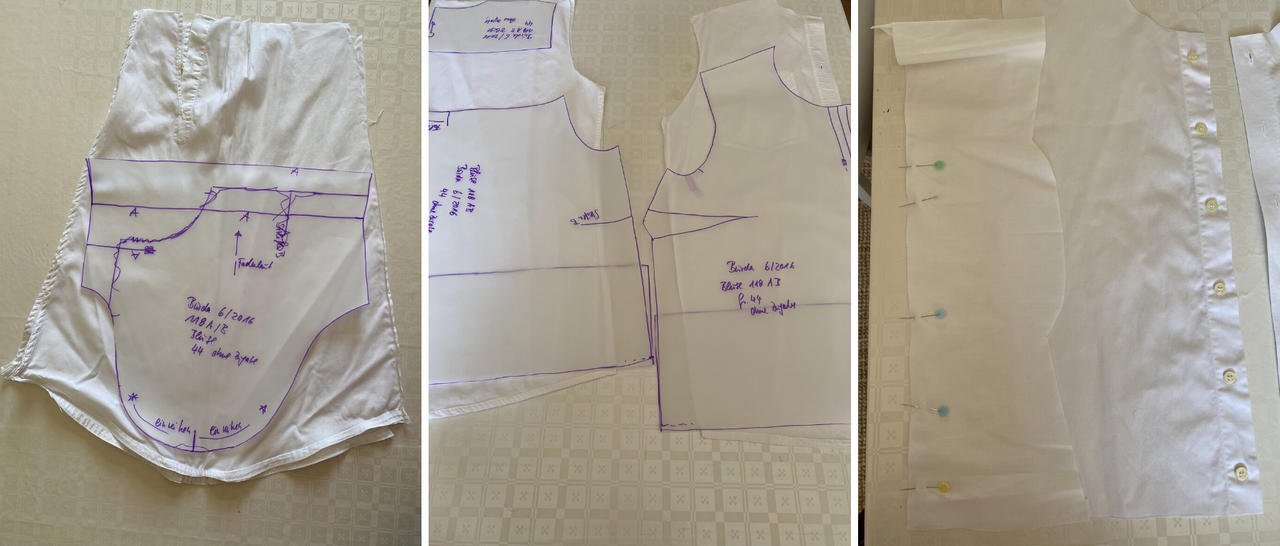 several cut out parts of farbic and paper pattern for sewing a blouse