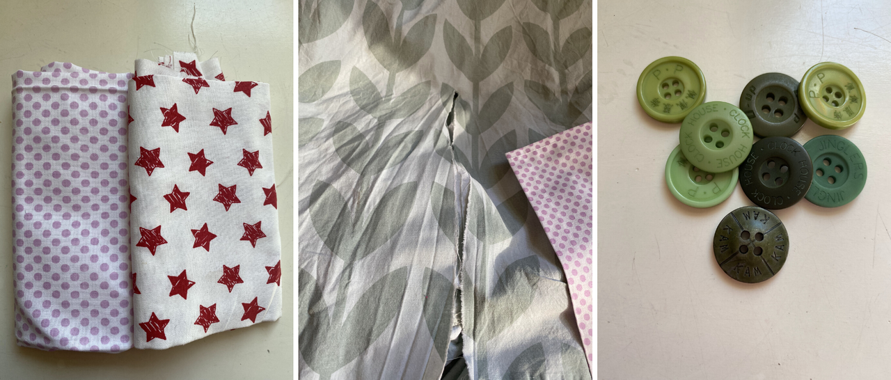 varoius cotton fabrics, buttons and a ripped bed linen