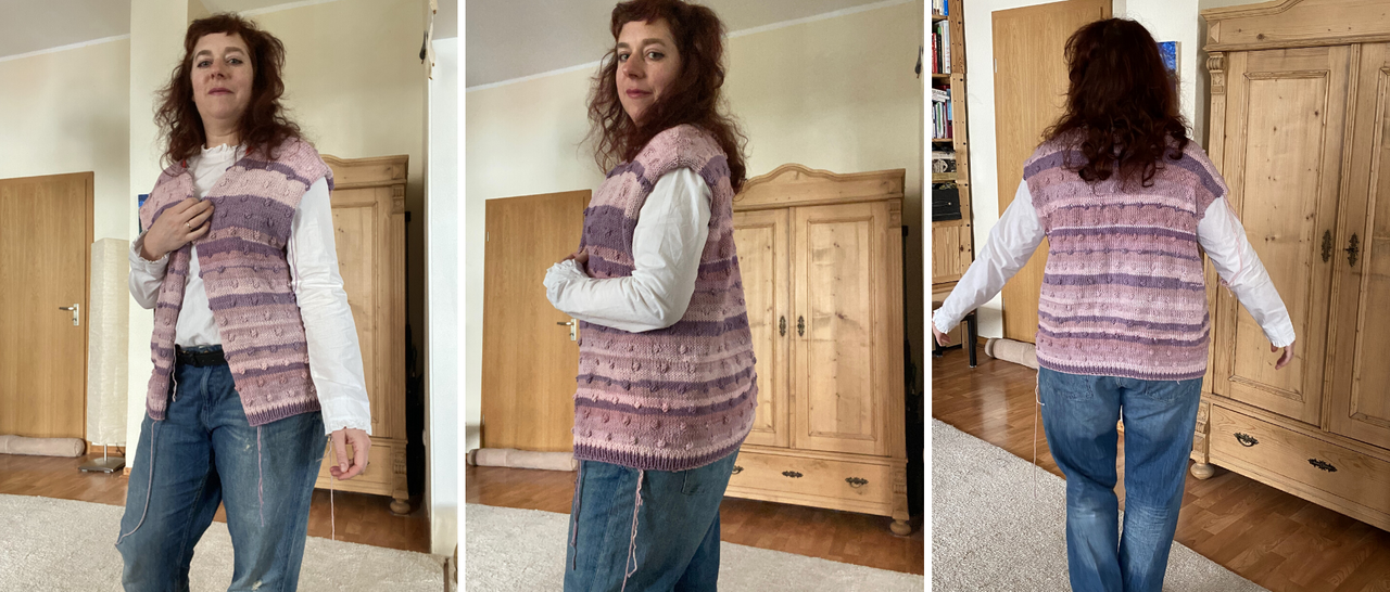 woman showing anothre Rönn cardigan in lavender colors which is unfinished and too big