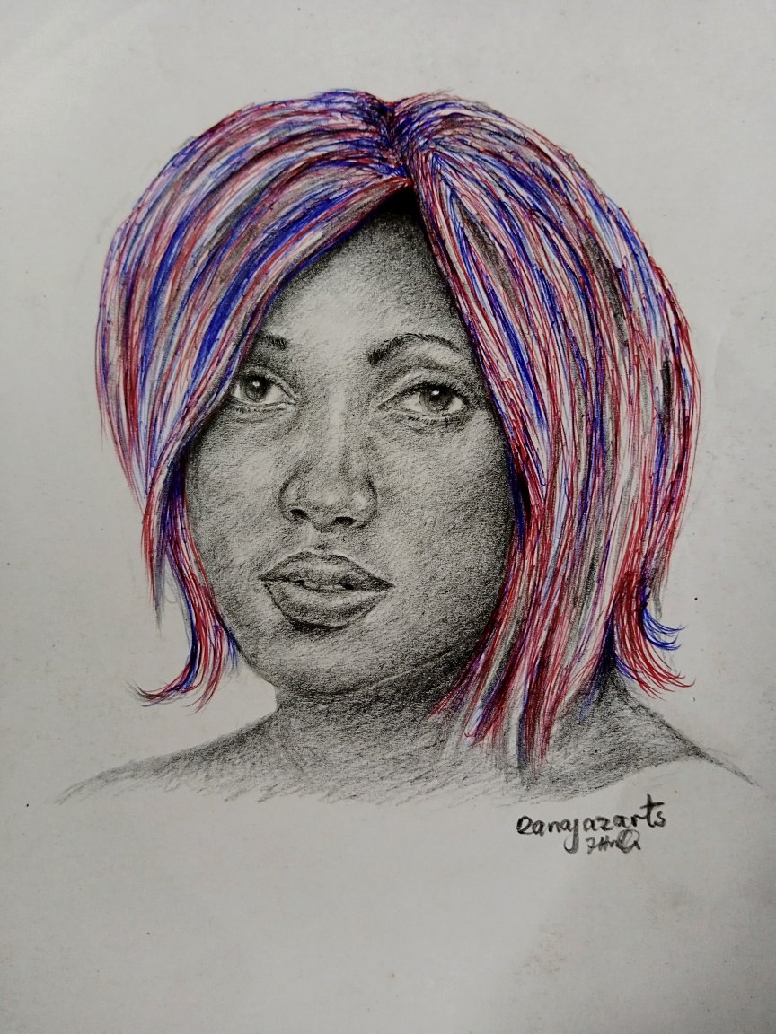 My drawing of a model with a colourful hairstyle.