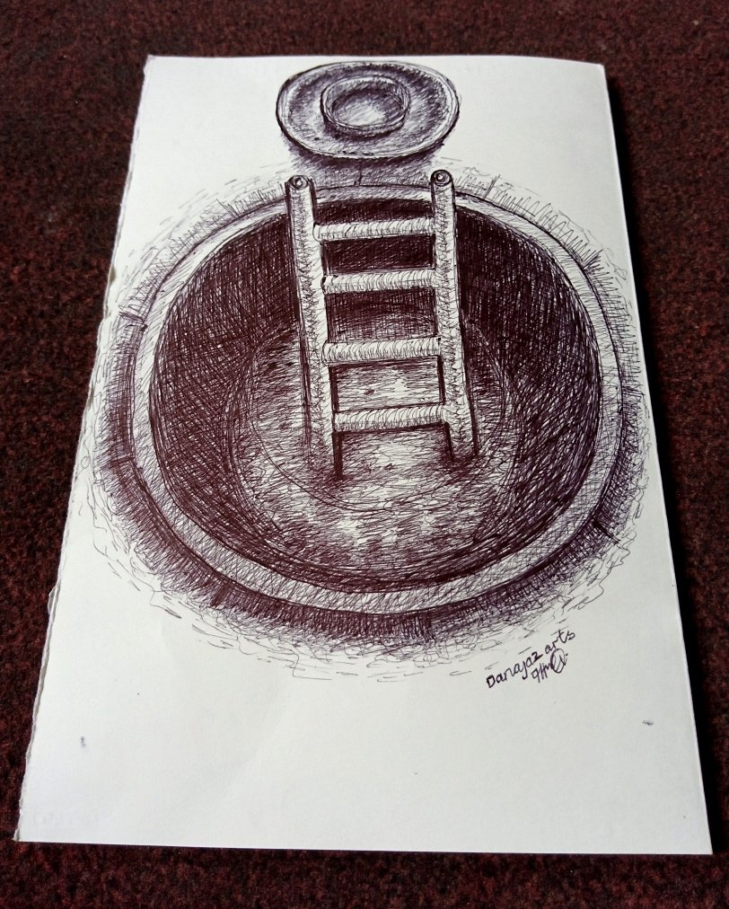 A ballpoint pen sketch of ladder in an uncovered well.