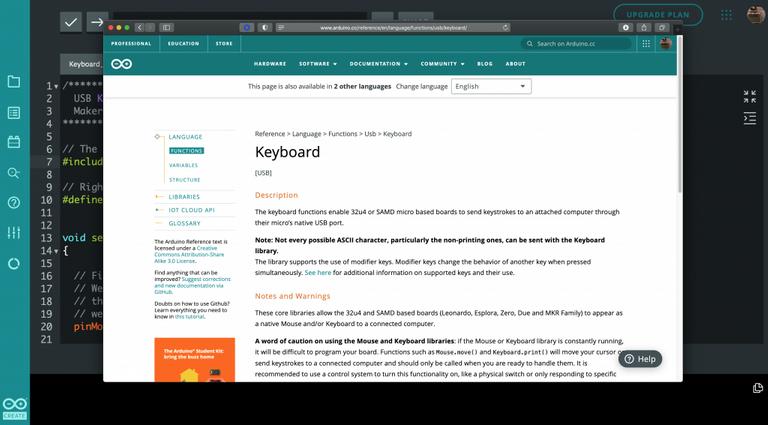 Arduino keyboard.h library