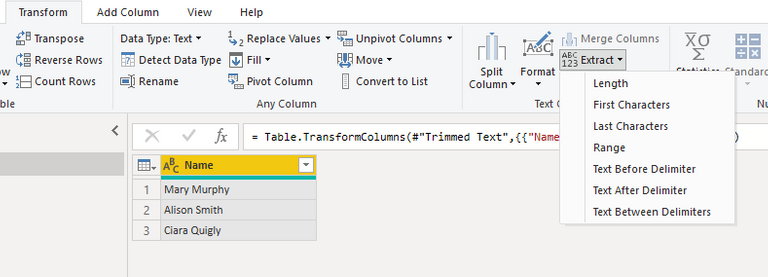 Extract from text in power query