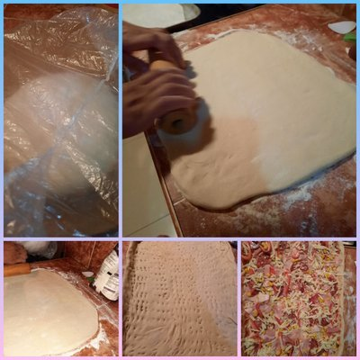 Dejar reposar la masa, estirar,y decorar/Allow the dough to rest, roll out, and decorate.